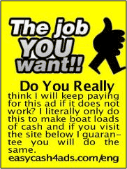 EasyCash4Ads classified ad reading The Job YOU want:: written in white and bordered black on a yellow rectangular sheet with ad written in black